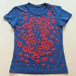 YSL small blue red floral logo t-shirt